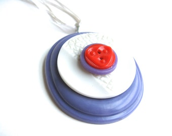 Vintage Buttons Necklace Purple Red White Triangle Motif