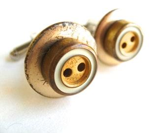 Cuff Links Gold Metal Vintage White Circles
