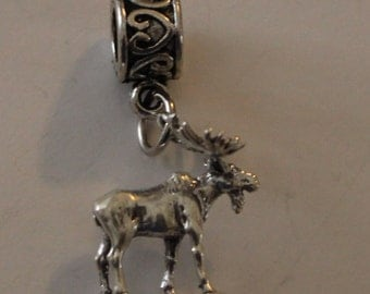 Sterling 3D MOOSE Bead Charm for  All Name Brand Add a Bead Bracelets - Wildlife