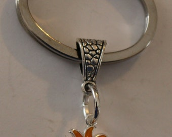Sterling Silver TROPICAL SUN Keychain, Key Chain, Keyring, Key Ring - Sunshine, Vacation