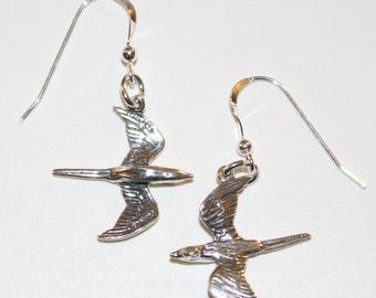 Sterling Silver 3d SPARROW BIRD Earrings - Wildlife, Totem