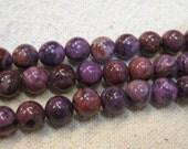 Purple Crazy Lace Agate Round Gemstone Beads 8mm