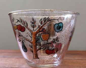 Paradise. Vintage mid century modern glass bowl, barware.
