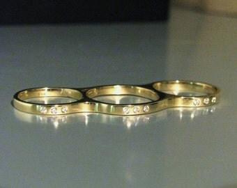 3 Finger Triple Ring w/ Diamonds 14K or 18K Yellow, Rose, or White Gold Custom Made