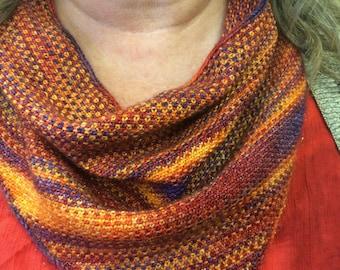 Knitting Pattern Linen Stitch Bandana Cowl Pattern