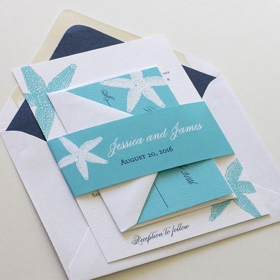 Etsy Beach Wedding Invitations: Beach Wedding Invitation Starfish Wedding By Blushpaperie