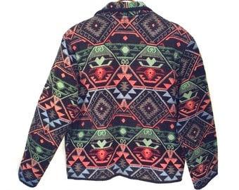vintage 80's cotton tapestry jacket // SOUTHWEST // ethnic cotton jacket BLACK // size L