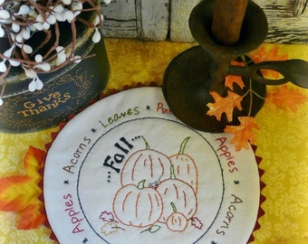 Fall candle mat embroidery Pattern - pdf bounty acorn apple stitchery table pillow pumpkins mouse