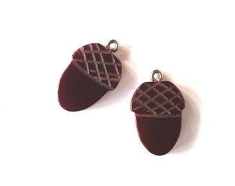 bakelite charms acorns pendants vintage earrings 1930s supplies pair #1 burgundy color jewelry making supplies rare