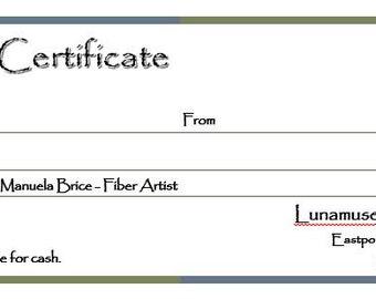 Lunamuse Fiberart Gift Certificate