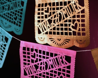 VIVA LA MUJER paper garland, papel picado - Ready Made - graduation party, Mother's Day gift