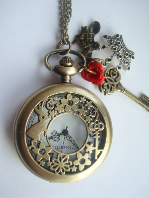 Alice in Wonderland Red Queen Crown Large Pocket Watch Necklace with Charms