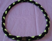 18 inch T Shirt Yarn Necklace - Black/Lime