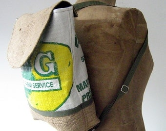Backpack, Upcycled Burlap and Maine Potato Sack Backpack, Eco-Friendly, Made in Maine