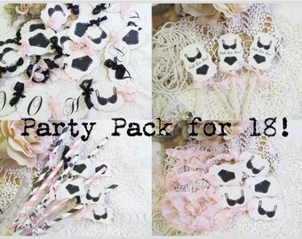 Lingerie Party Bridal Shower Decorations Package for 18! - Choose Straw & Ribbon Colors - Lingerie Party Bachelorette Party Party Pack