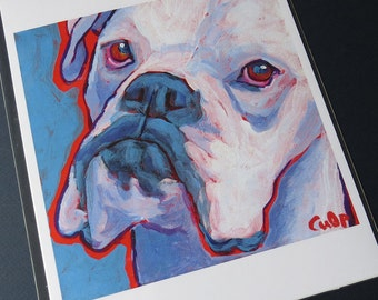 White BOXER Dog 8x10 Signed Art Print from Painting by Lynn Culp
