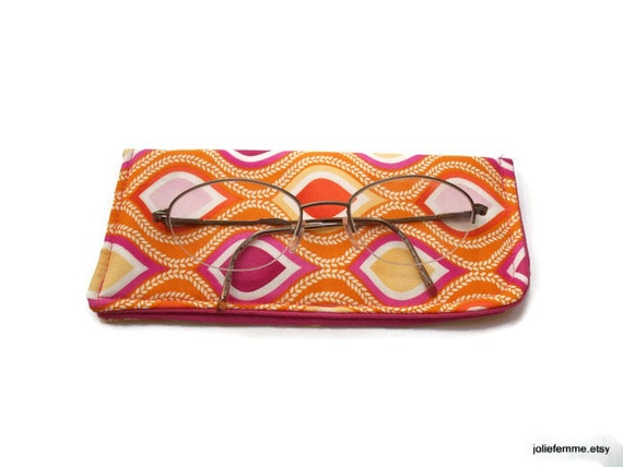 Padded Protective Pouch for Glasses Bright Leaf Waves Orange Pink  Eyeglass Case
