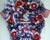 XXL 4th of July wreath ,XL Custom Order, Patriotic wreath, Labor Day wreath,God Bless America, Summer, Door wreath, USA