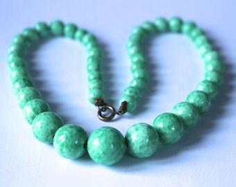 Vintage peking glass necklace, vintage jewelry, SALE