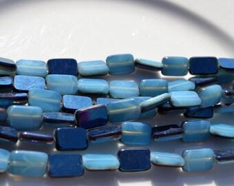 Blue Opal Metallic 12x8mm Rectangle Czech Glass Beads  10