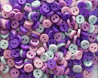 50 pcs Tiny Round Buttons Mixed Color Supply
