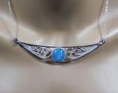 Sterling silver, filigree, glow in the dark, dichroic glass, bib necklace, halloween, statement, gift