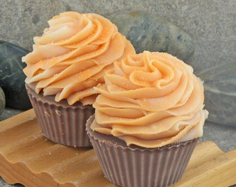 Handmade Cupcake Soap in Vanilla, Orange and Clove  - Cold Process Bakery Soap