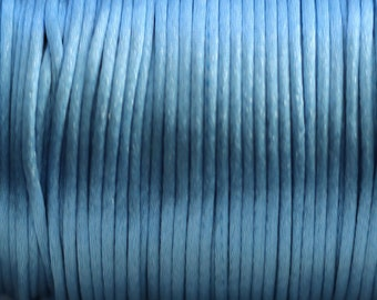10 yards 2mm  Denim Blue Satin Rattail Cord