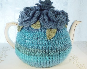 Turquoise Tea Cozy, 6 Cup Crochet Teapot Cozy, Tea Cosy, Rosy Cozy, Bermuda Tea Cozy