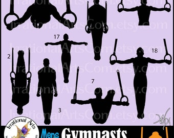 Men Gymnasts Silhouettes Set 5 - 8 Vinyl Ready Images in SVG & EPS, plus PNG Digital Files and a small commercial license {Instant Download}