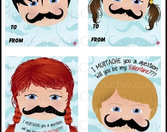 I Mustache You A Question Valentines Day Cards - kids class exchange DIY Printing - valentine Boy and Girl Jpg & Pdf{Instant Download}