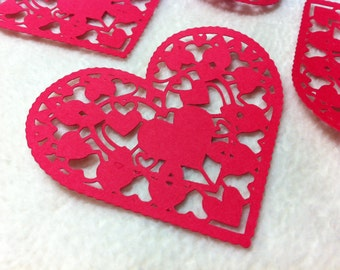 Heart Paper Lace...6 Piece Set of Very Beautiful Heart Paper Laces Scrapbooking Die Cut Embellishments