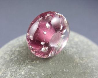 """Lampwork art glass BHB, charm bead, donut """"Amethyst Twinkle"""", FHFteam Y3, GBUK"""