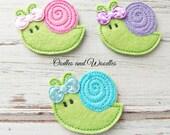 Snail Felt Appliques, Snail Embroidered Appliques, Colorful Snail Appliques, Set of 3 Snail Appliques, Snail Felties