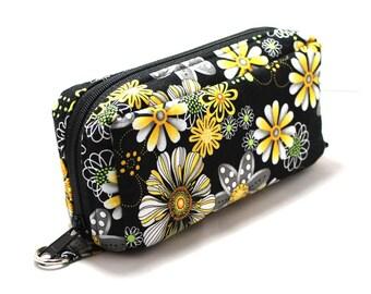Essential Oil Case Holds 10 Bottles Essential Oil Bag Gold Flowers on Black