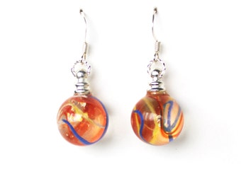 Red yellow blue glass marble dangle earrings
