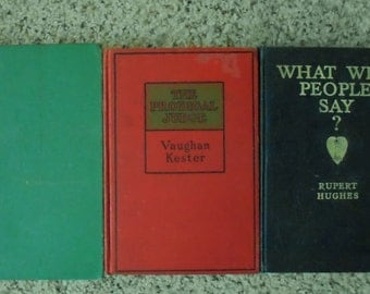 3 VINTAGE BOOKS, short stack, early 1900 s, Marriage, green, red, navy, read, decor, library