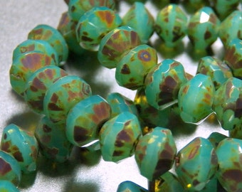 Czech Opal Turquoise with Picasso 6x9mm Glass Saucer Beads (25) 0445