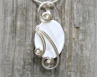 Opalescent White Mop Shell Silver Wire Wrapped Pendant Necklace