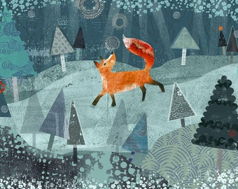 "Winter Fox - ""8x10"" Archival Print - art poster - wall decor - children's wall art - nursery poster"