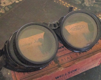 Vintage Willson Goggles Steampunk Goggles Steampunk Costume - Original Box - 1920's Goggles - Display or Wear