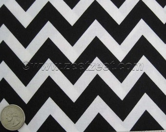 Robert Kaufman REMIX ZIG ZAG, Black & White Chevron - Cotton Quilt Fabric - by the Yard