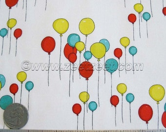 Just for Fun BALLOONS Yellow, Blue, Red Balloons on White - Cotton Quilt Fabric - by the 1/4 Yard Fat Quarter - Rare