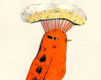 Orange bird, painting on paper