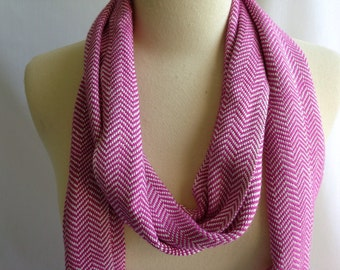 Pink Chevron Scarf Handwoven Bamboo and Cotton
