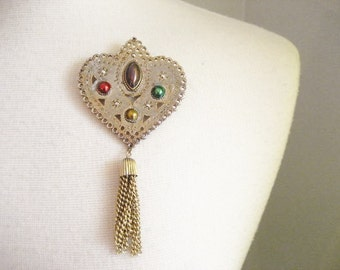 Vintage Metal Heart Brooch with Tassel and Painted Accents