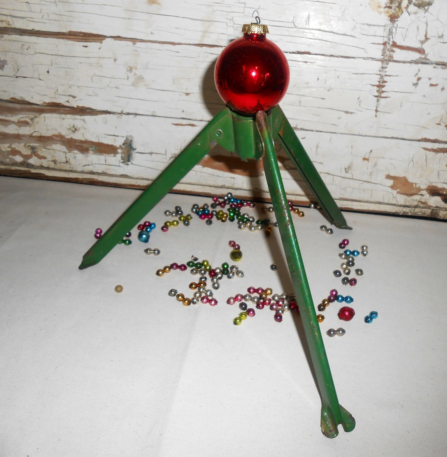 Vintage Green Tripod Folding Christmas Tree Stand. Vintage