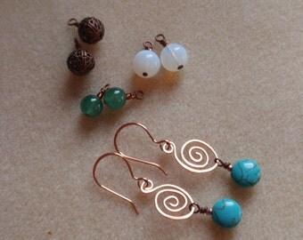 Interchangeable Copper Swirl Earrings