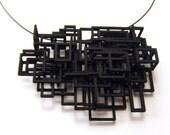 Black 3D Printed Large Open Square Pendant