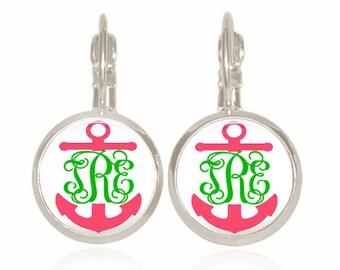 Monogram Earrings, Sorority Gift, Bridesmaid Gift, Personalized Earrings, Anchor Earrings, Preppy Earrings (Pink & Green Anchors)